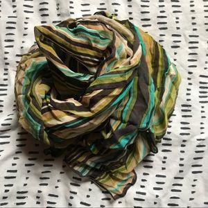 Geometric Missoni silk scarf in blue, green, brown